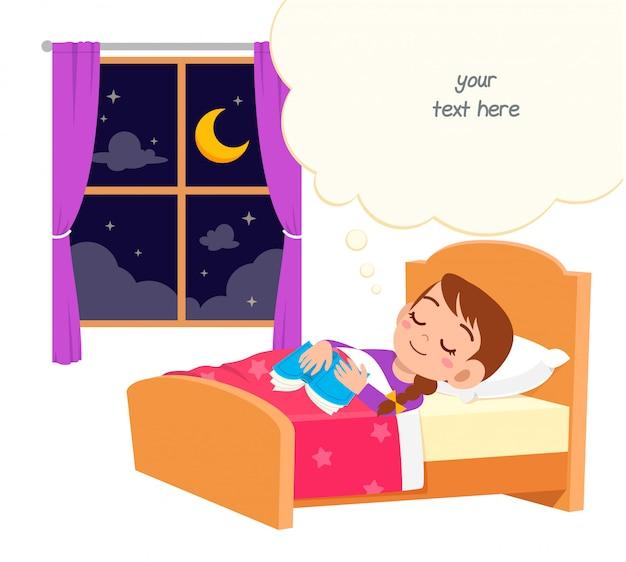 Счастливый милый маленький ребенок девочка спит в ночи