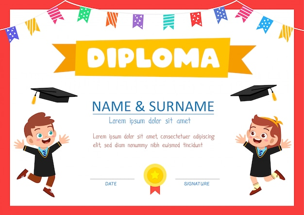 学校の学生のためのかわいい卒業証明書テンプレート