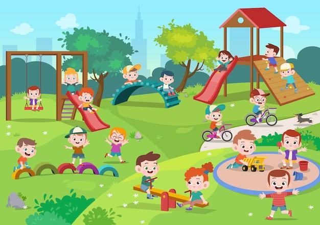 Дети дети играют на детской площадке иллюстрации