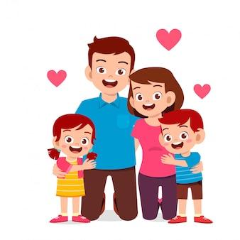 幸せなかわいい子供男の子と女の子のママとパパ