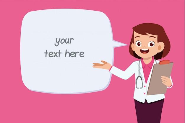 Счастливый милый молодой доктор женщина текстовый шаблон