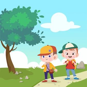 子供たちは学校に一緒に行くベクトルイラスト