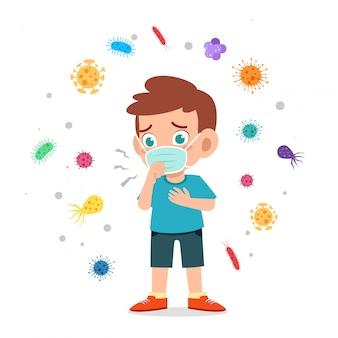 幸せなかわいい子供男の子着用マスクウイルスイラストを避ける