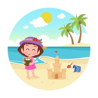 ビーチのイラストで遊ぶ子供女の子