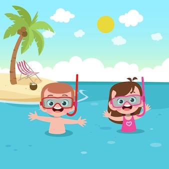 ビーチの図で遊んでいる子供たち
