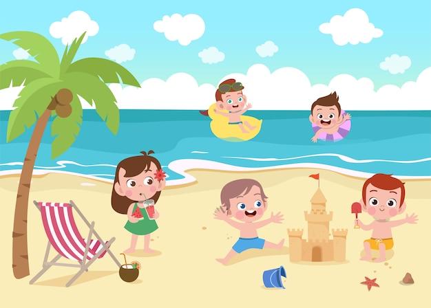 Дети играют на пляже иллюстрации