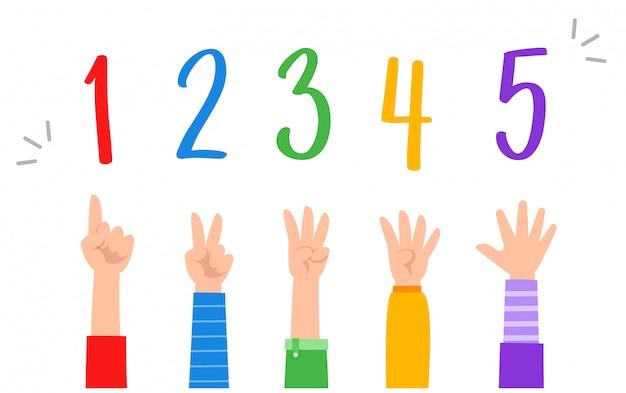 かわいい小さな子供研究数学数カウントアップル