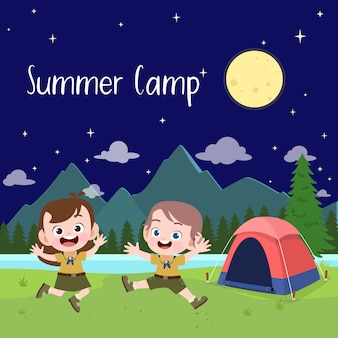 Детские скауты на иллюстрации лагеря