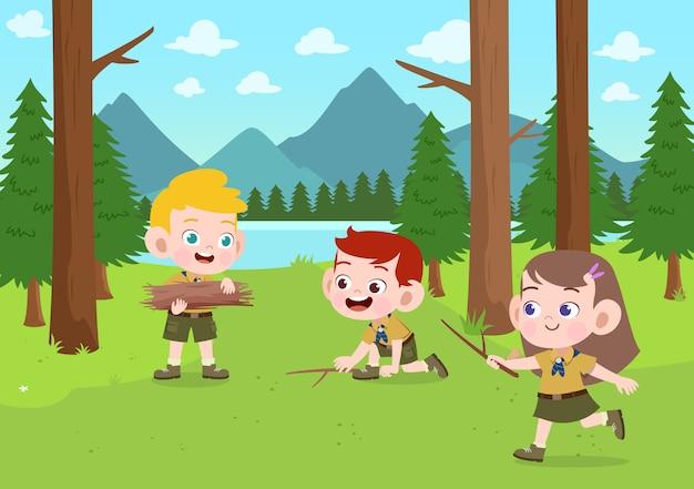 キャンプの図で子供たちのスカウト