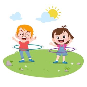 一緒に遊ぶ子供たちのベクトル図