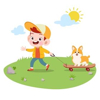 子供ベクトルイラスト犬と遊ぶ