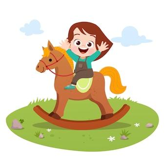 Малыш езда лошади векторная иллюстрация изолированных