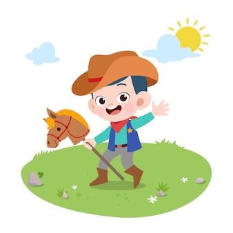 子供乗馬馬ベクトルイラスト絶縁