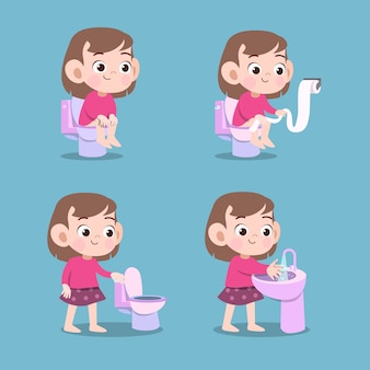 分離されたトイレのうんちベクトルイラストを使用した子供