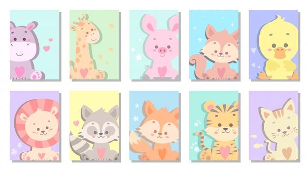 かわいい赤ちゃん動物グリーティングカードベクトルイラスト