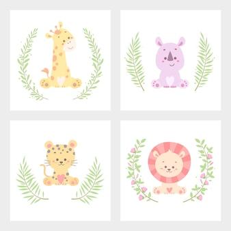 かわいい動物の花カードベクトルイラスト分離