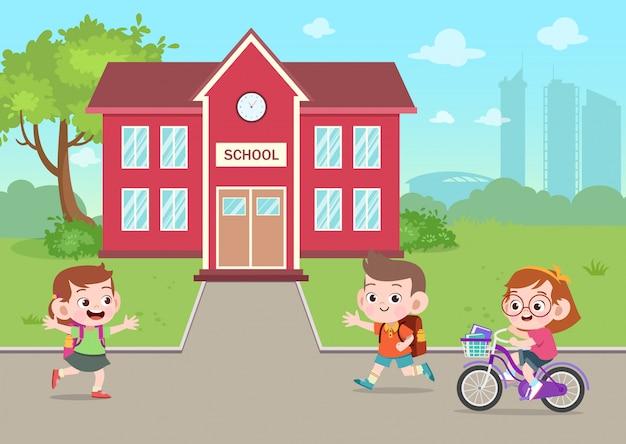 Дети ходят в школу, векторная иллюстрация