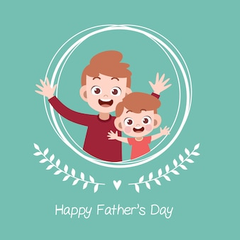 幸せな父親の日カードグリーティングカードベクトル図