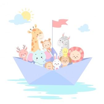 ボートに乗ってかわいい動物ベクトルイラスト