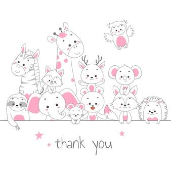 ありがとうカード。かわいい動物ラインアートのベクトル図