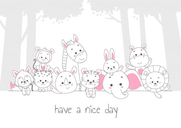 良い一日を。かわいい動物ラインアートのベクトル図