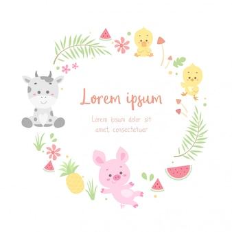 Симпатичная цветочная открытка с изображением животных