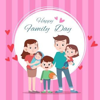 Счастливая семья день карты приветствие векторная иллюстрация
