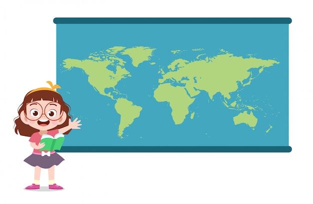 地図と子供の女の子