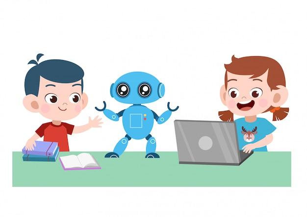 子供のラップトップロボット