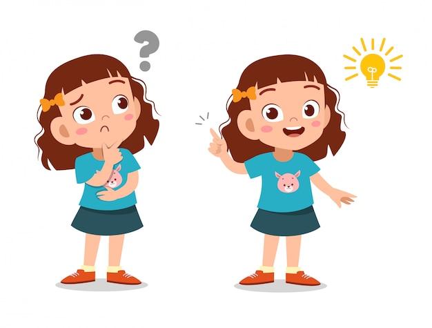Ребенок девочка думает лицо