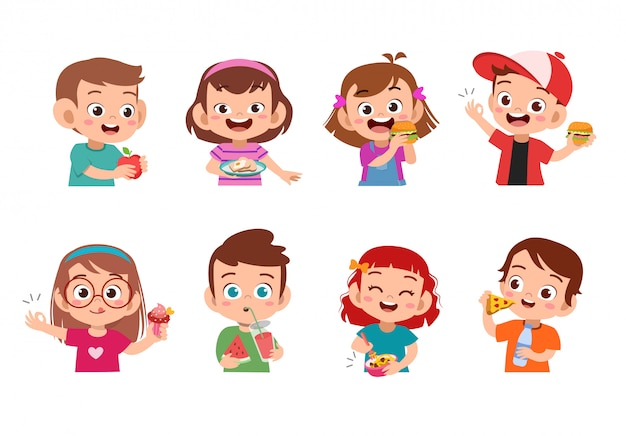 食べ物を食べる子供たち