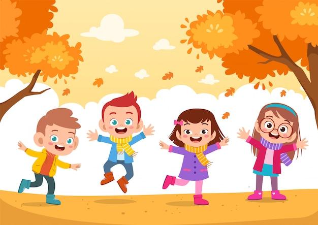 Счастливые дети осень