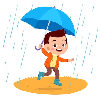 幸せな子供たちの傘の雨