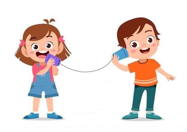 缶が付いている子供の電話おもちゃ