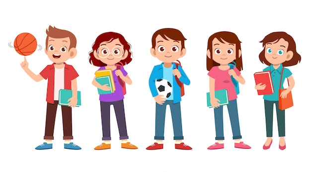 Набор подростков студента колледжа