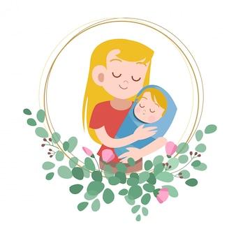 幸せな母の日カード挨拶ベクトルイラスト