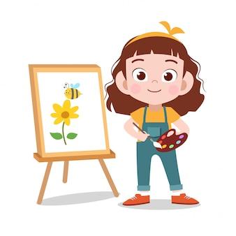 幸せな子供は花の絵を描く