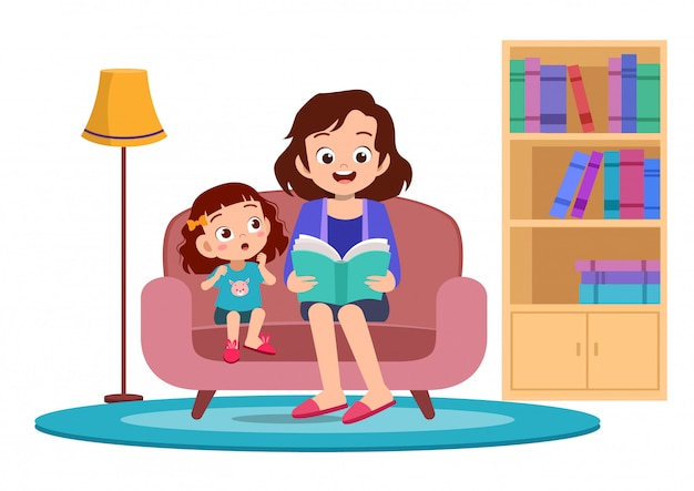 Счастливые дети слышат историю от матери