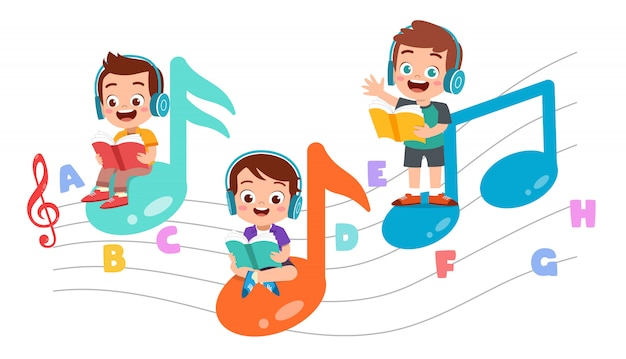 Счастливые дети читают книги и слушают музыку