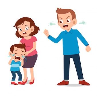 親と戦う子供と子供たちは泣く