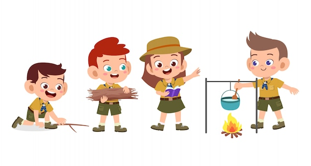 キャンプセットで幸せなかわいい子供たち