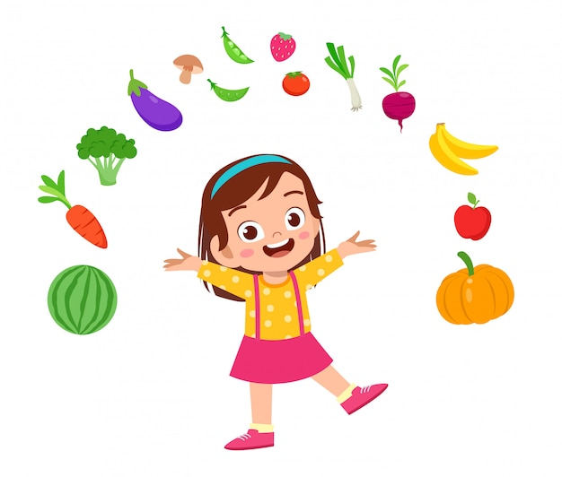 野菜とかわいい幸せな子供