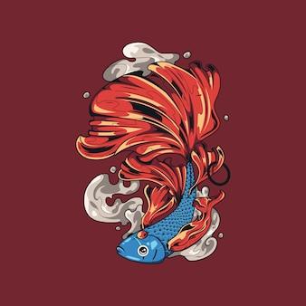 女王ベタの魚のイラスト