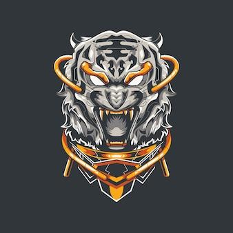 Иллюстрация белого тигра и дизайн футболки