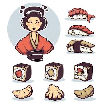 伝統的な食べ物、漫画のコレクションを持つ日本人女性のベクトル画像