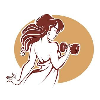 Фитнес богини, шаблон логотипа женского спортзала в старинном стиле