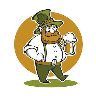 Симпатичная иллюстрация гнома с крафтовым пивом на день святого патрика