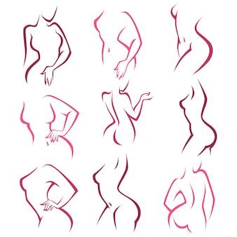 親密な衛生、あなたのロゴの女性ポーズコレクション