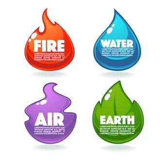 Огонь, воздух, земля и вода, векторная коллекция элементов природы