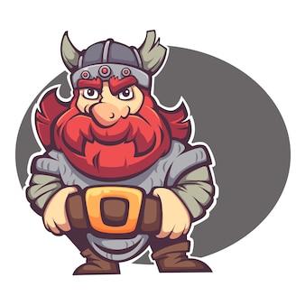 Сильный герой, векторное изображение фантазийного гнома или викинга для вашего логотипа или талисмана